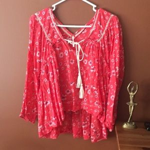 Free People Boho Red Floral Blouse S
